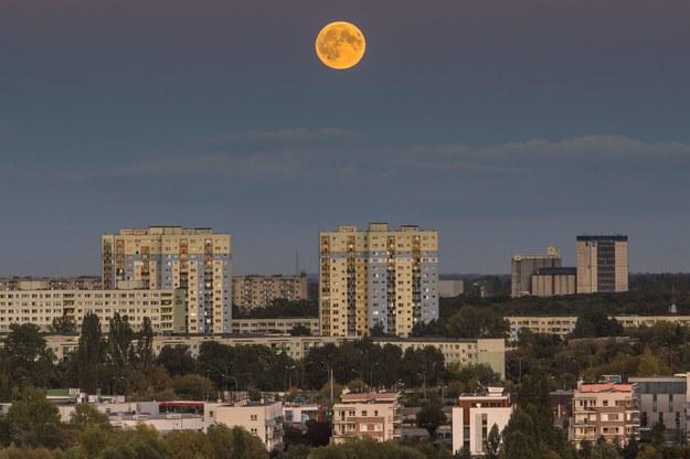 Jedna z faz zaćmienia Księżyca widziana nad Poznańskimi Ratajami /Łukasz Ogrodowczyk /PAP