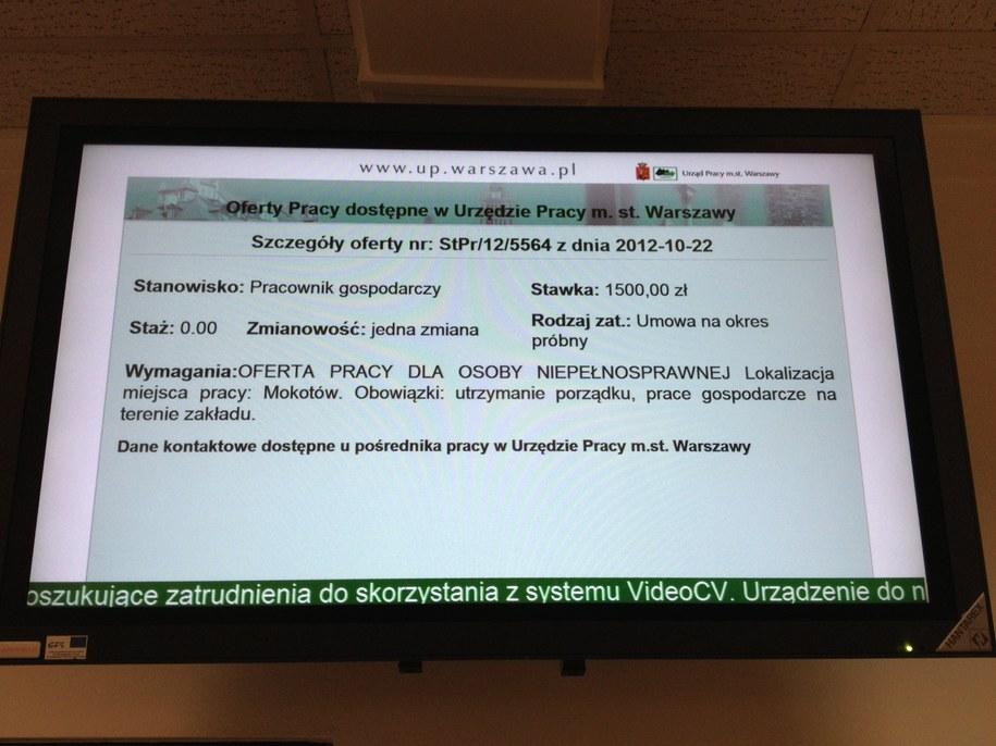 Jedna z ofert pracy w urzędzie pracy w Warszawie /Paweł Świąder /RMF FM