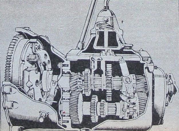 Jedna z pierwszych na świecie skrzyń przekładniowych z nadbiegiem. Miała ona przełożenia 1:3,3; 1:1,7; 1:1 1 1:0,73. Do dziś w ten sposób konstruuje się skrzynie o trzech walkach (sprzęgłowy, zdawczy i główny) do aut z silnikiem z przodu i tylnym napędem. /Motor