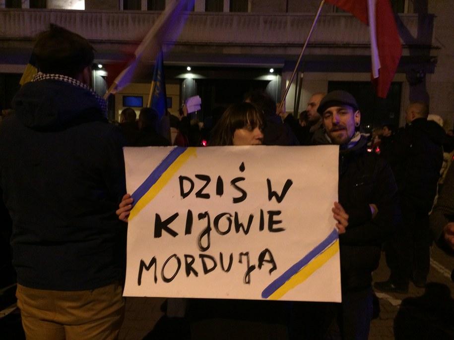 Jedna z protestujących w Warszawie /Monika Gosławska /RMF FM