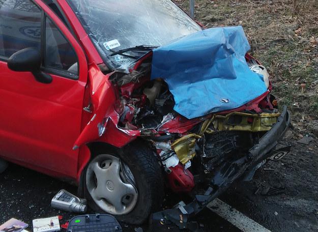 Jedno z rozbitych aut /Oświęcim 112 /Gorąca Linia RMF FM
