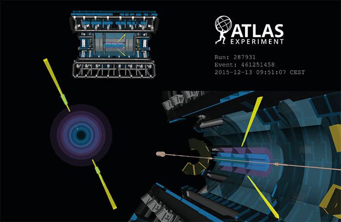 Jedno z zarejestrowanych rozproszeń fotonów /CERN/ATLAS experiment /materiały prasowe