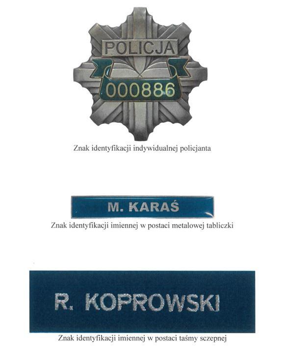 Jednostki policji mają zapewnić każdemu funkcjonariuszowi trzy tabliczki - jedną metalową i dwie na taśmie z tkaniny /Materiały prasowe