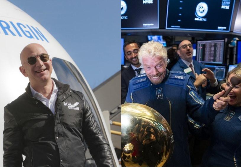 Jeff Bezos (z lewej), założyciel Blue Origin i Richard Branson, założyciel Virgin Galactic /AFP