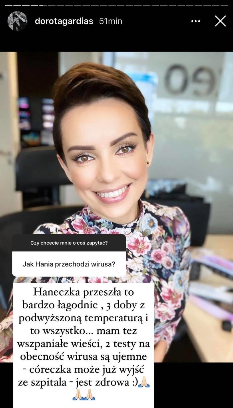 Jej córka jest już zdrowa! /Screen - InstaStory Doroty Gardias /materiał zewnętrzny