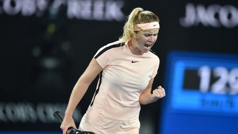 Jelina Switolina cieszy się z wygranego punktu w meczu z Denisą Allertovą /Getty Images