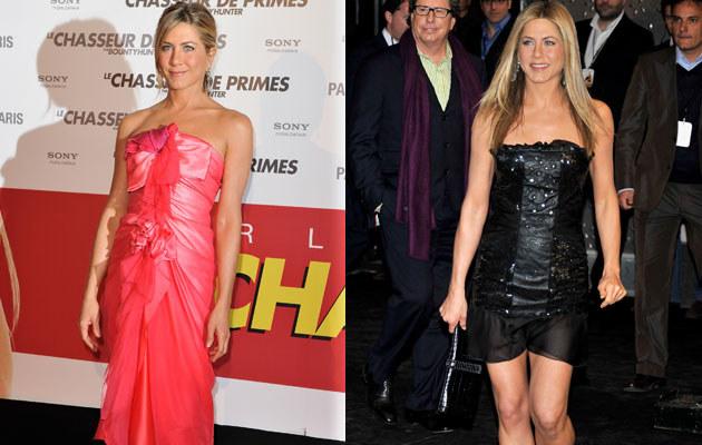 Jennifer Aniston na premierach w Paryżu i Madrycie, fot. Pascal Le Segretain, Carlos Alvarez  /Getty Images/Flash Press Media