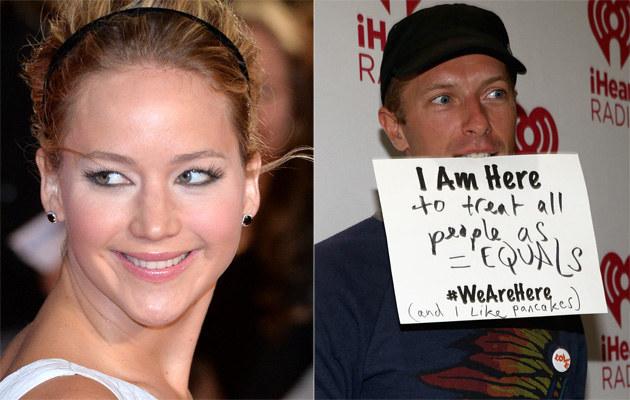 Jennifer Lawrence i Chris Martin /Anthony Harvey, Christopher Polk /Getty Images