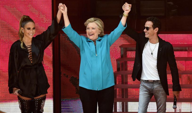 Jennifer Lopez, Hilary Clinton i Marc Anthony /Gustavo Caballero /Getty Images