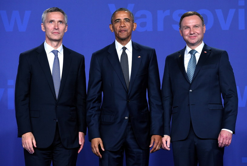 Jens Stoltenberg, Barack Obama i Andrzej Duda /Radek Pietruszka /PAP