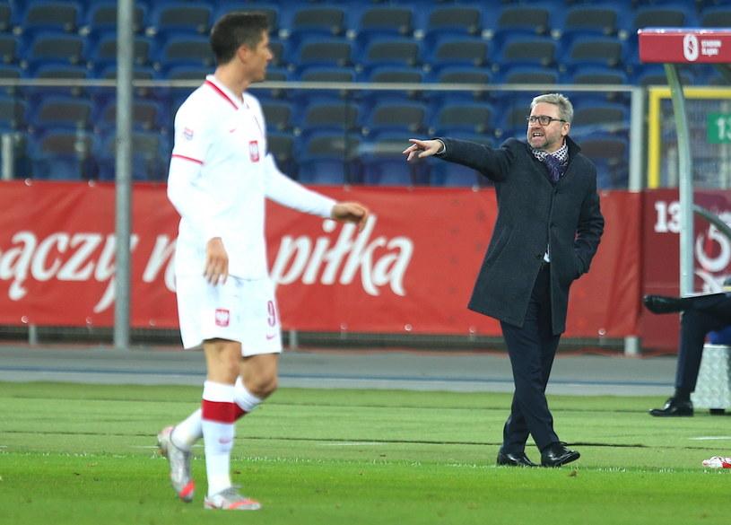 Jerzy Brzęczek i Robert Lewandowski podczas meczu Polska - Holandia na Stadionie Śląskim /PAP