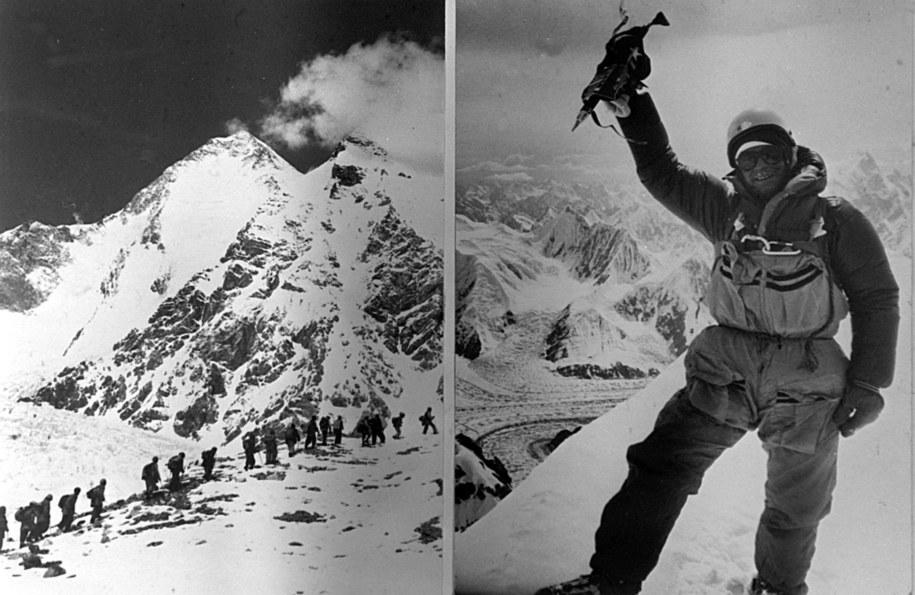 Jerzy Kukuczka na szczycie Hidden Peak w 1983 roku /CAF-ARCHIWUM /PAP