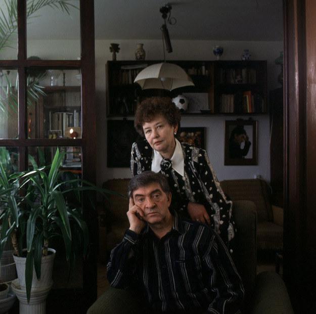Jerzy Trela z żoną Georgetą w swoim domu /Michał Jankowski /Agencja FORUM