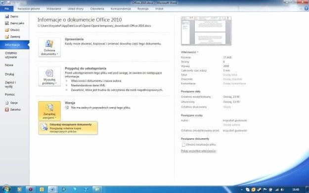 """Jeśli nie zapiszemy dokumentu, mamy do niego dostęp za pomocą opcji """"Odzyskaj niezapisane dokumenty"""" /INTERIA.PL"""
