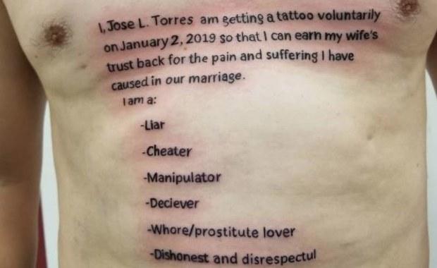 """""""Jestem zdrajcą"""". Niewierny mąż tatuażem chce odzyskać zaufanie żony"""