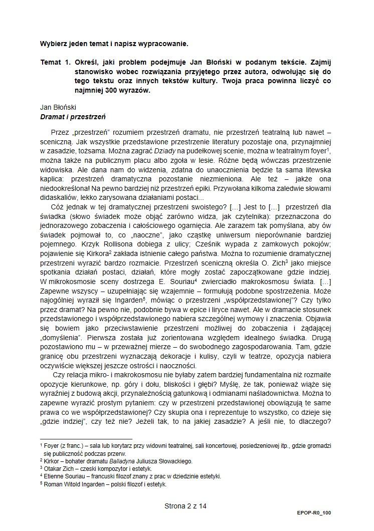 Jezyk polski poziom rozszerzony. Arkusz CKE i odpowiedzi /INTERIA.PL