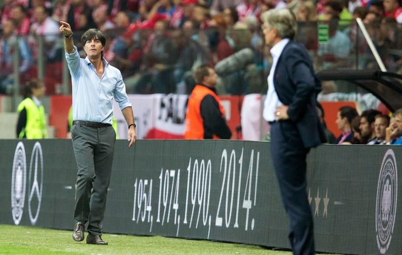 Joachim Loew i Adam Nawałka podczas ubiegłorocznego meczu w Warszawie /AFP