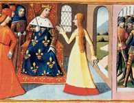 Joanna d?Arc przed królem Karolem VII, ilustracja z rękopisu ?Vigiles de Charles VII? /Encyklopedia Internautica