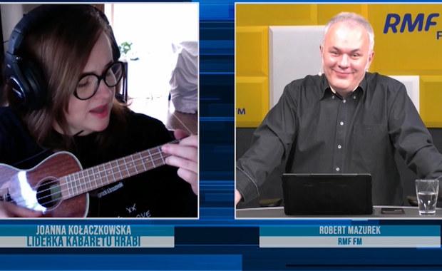 Joanna Kołaczkowska w RMF FM śpiewa i gra na ukulele