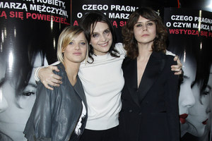 """Joanna Kulig na premierze """"Sponsoringu"""" razem z Juliette Binoche i Małgośką Szumowską /    /AKPA"""