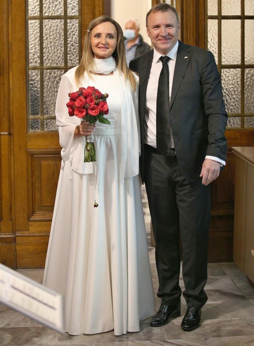 Joanna Kurska i Jacek Kurski w dniu ślubu /Damian Klamka /East News