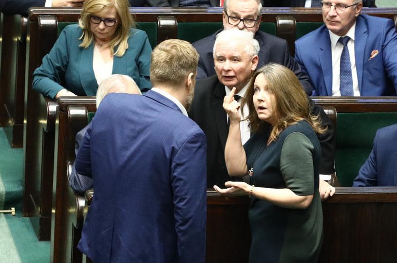Joanna Lichocka, Jarosław Kaczyński i Adrian Zandberg /Tomasz Jastrzebowski/REPORTER /Reporter