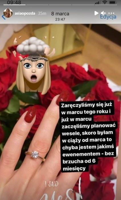 Joanna Opozda dementuje (screen z Instagrama aktorki) /materiały prasowe