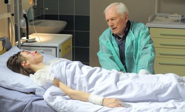 """Joanna Osyda (Janka) i Witold Pyrkosz (Lucjan) na planie """"M jak miłość"""" /Agencja W. Impact"""