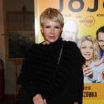 Joanna Racewicz i gładka jej twarz na premierze spektaklu