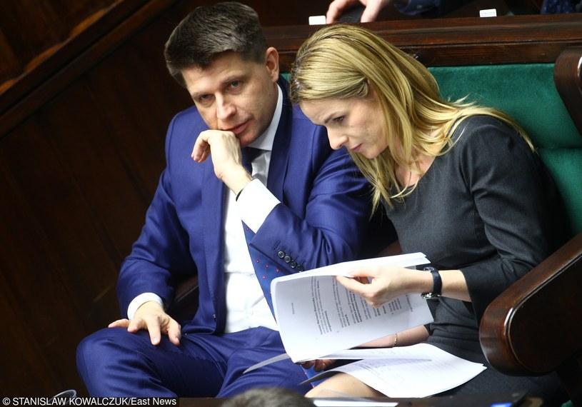 Joanna Schmidt i lider Nowoczesnej  Ryszard Petru /Stanisław Kowalczuk /East News