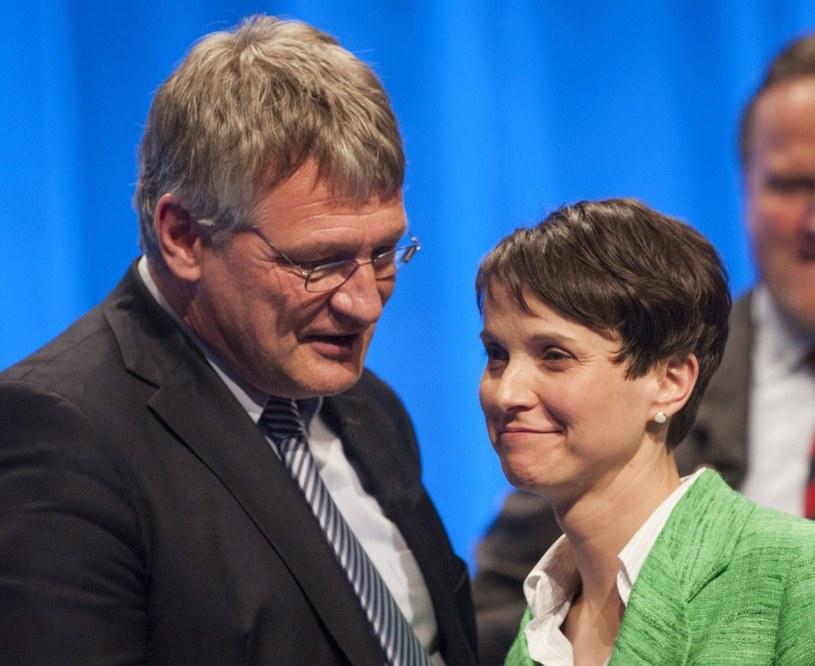 Joerg Meuthen i Frauke Petry podczas konwencji programowej AfD /CHRISTOPH SCHMIDT /PAP/EPA