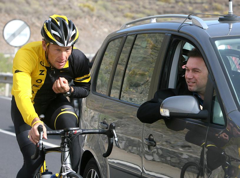 Johan Bruyneel (z prawej) jest ojcem sukcesów Lance'a Armstronga /AFP