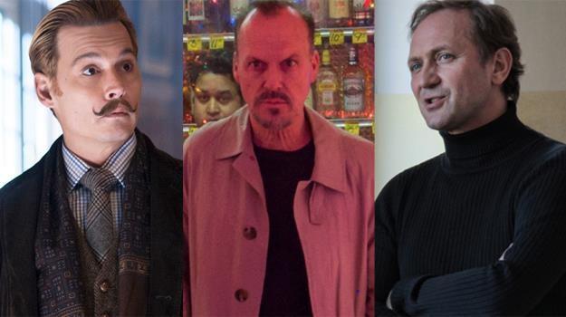 """Johnny Depp (""""Bezwstydny Mortdecai""""), Michael Keaton (""""Birdman""""), Andrzej Chyra (""""Carte Blanche"""") /materiały prasowe"""