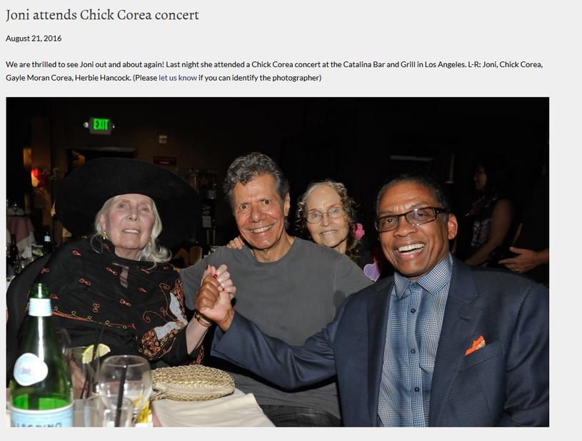 Joni Mitchell w towarzystwie Chicka Corea, Gayle Moran Corea i Herbie Hancocka /oficjalna strona wykonawcy