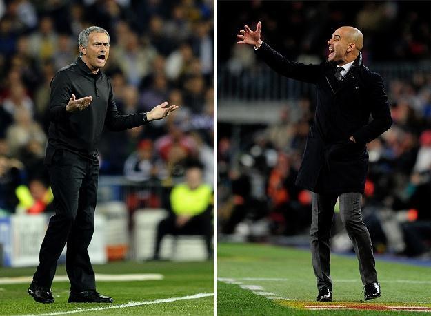 Jose Mourinho (L) był tłumaczem w Barcy, ale teraz stara się odebrać mistrzostwo jej i Guardioli. /AFP