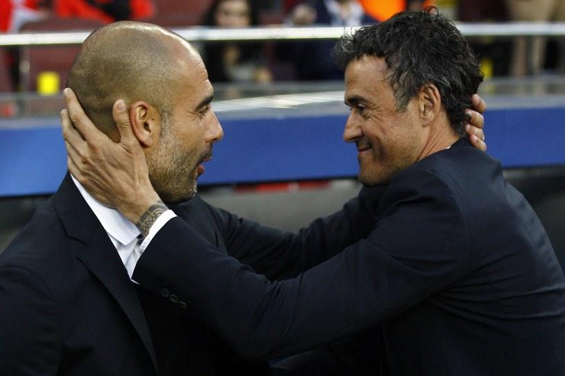 Josep Guardiola (z lewej) odnosił wielkie sukcesy z FC Barcelona. Jak będzie z Luisem Enrique, który zrobił pierwszy krok, czyli zdobył mistrzostwo Hiszpanii? /AFP