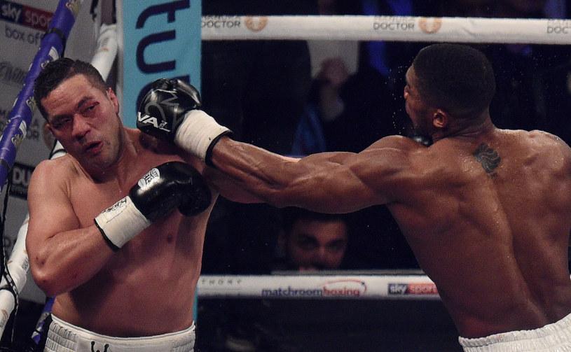 Joseph Parker (z lewej) w przegranej walce z Anthonym Joshuą /AFP