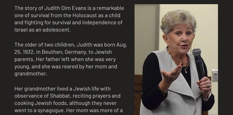 Judith Dim Evans wielokrotnie opowiadała swoją historię młodszym pokoleniom /www.judithdimevans.com /materiały prasowe