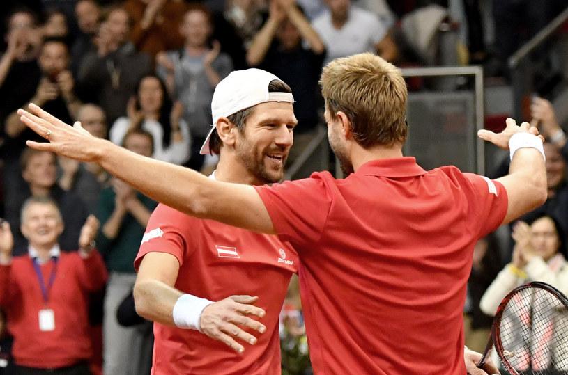Juergen Melzer i Oliver Marach podczas Pucharu Davisa /AFP