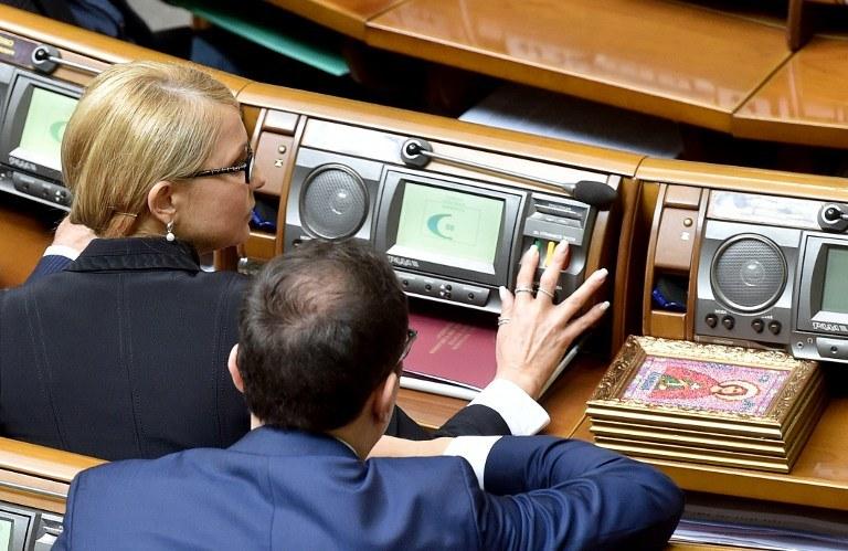 Julia Tymoszenko podczas głosowania /AFP