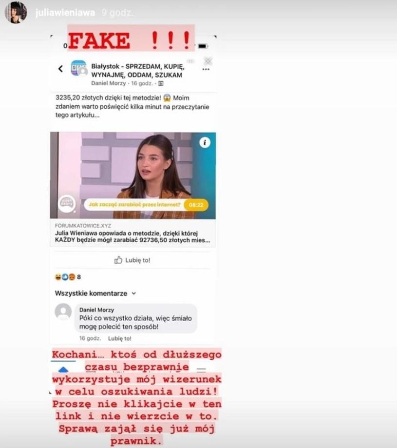 Julia Wieniawa ostrzega internautów! /https://www.instagram.com/juliawieniawa/ /Instagram