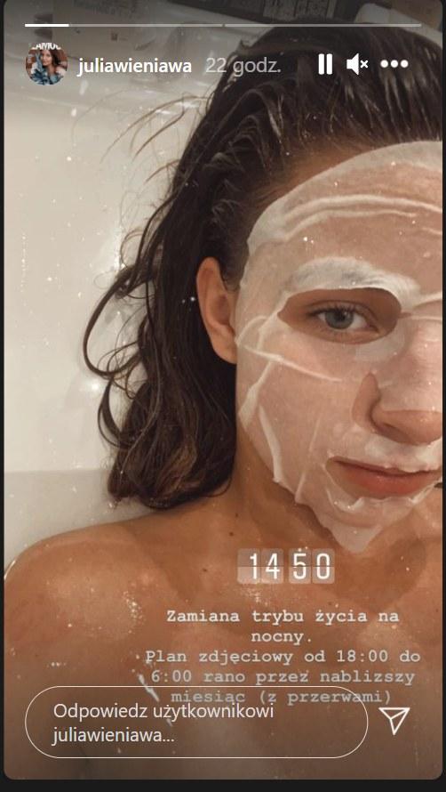 Julia Wieniawa w wannie. Zdjęcie pochodzi z InstaStory z https://www.instagram.com/juliawieniawa/?hl=pl /Instagram/juliawieniawa /Instagram