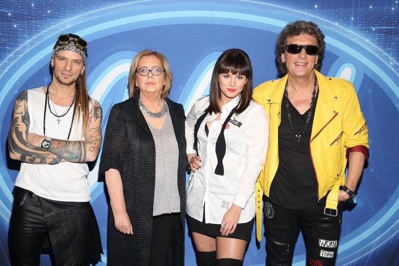 """Jurorzy programu """"Idol"""" - Wojciech Łuszczykiewicz, Elżbieta Zapendowska, Ewa Farna oraz Janusz Panasewicz /Polsat"""