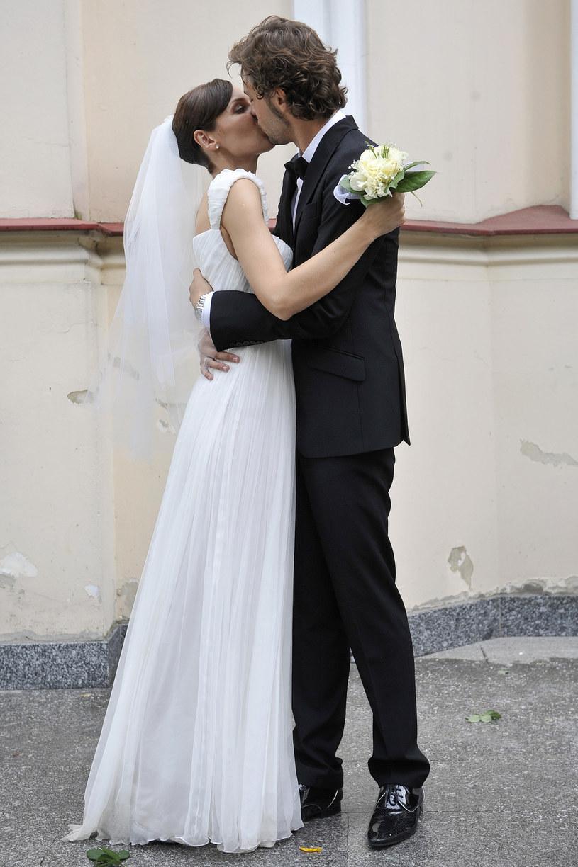Jusis i Makowiecki w dniu ślubu, 2008 rok /Kurnikowski /AKPA
