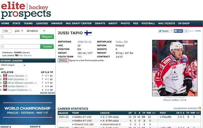Jussi Tapio w serwisie eliteprospects.com /