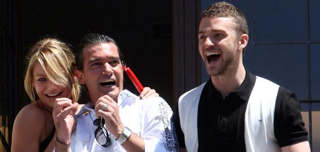 """Justin z Cameron Diaz i Antonio Banderasem na premierze """"Shreka Trzeciego""""  /AFP"""