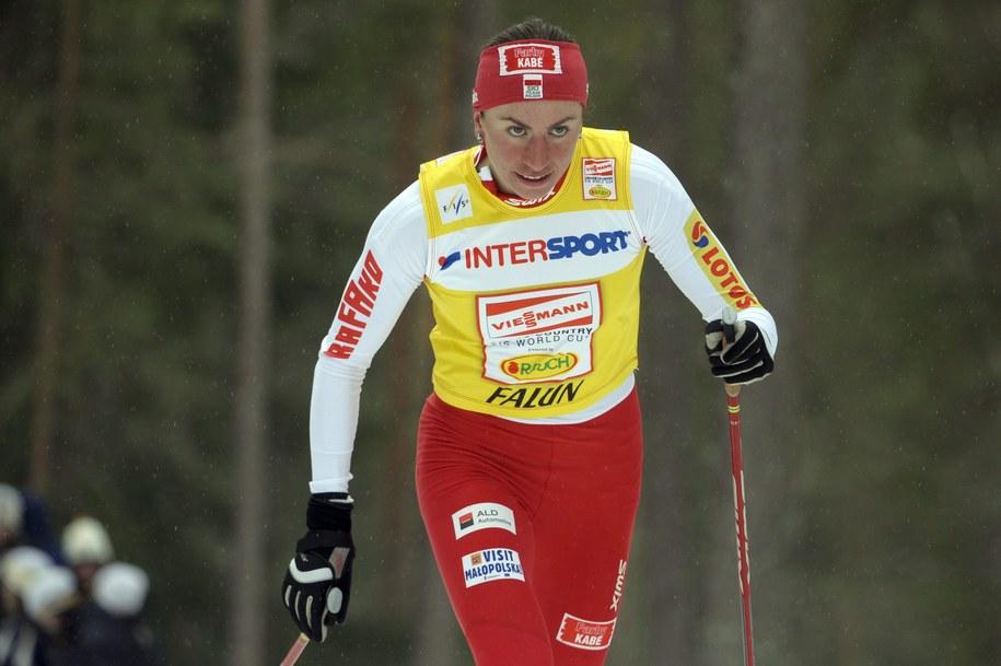 Justyna Kowalczyk biegnie po zwycięstwo w Falun.  /  ANDERS WIKLUND /PAP