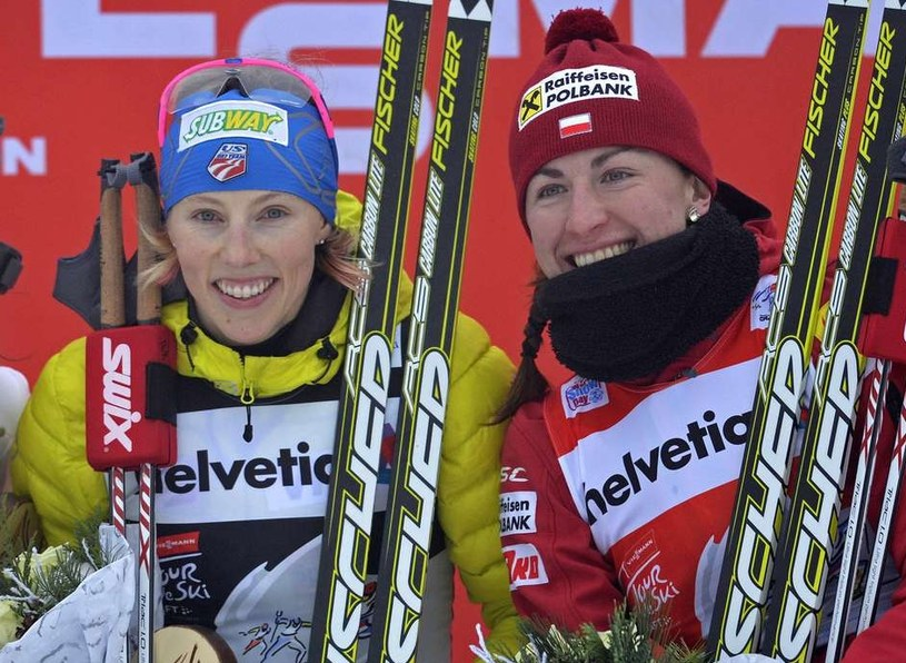Justyna Kowalczyk i Kikkan Randall /AFP