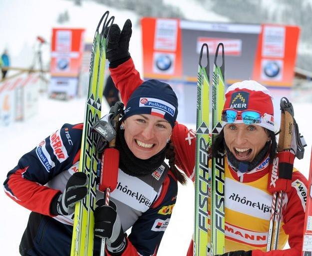 Justyna Kowalczyk i Marit Bjoergen /AFP