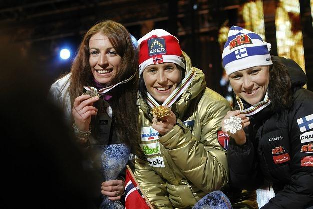 Justyna Kowalczyk, Marit Bjoergen i Aino-Kaisa Saarinen na MŚ w Oslo. /AFP